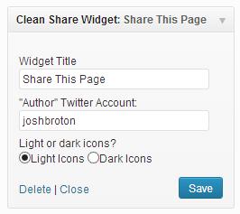 Clean Share Widget Admin